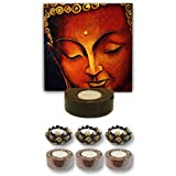 TYYC Diwali Gifts Graceful Lord Buddha Tealight Holder Diwali Decoration Candle Lights For Puja, Home, Office Set Of 7
