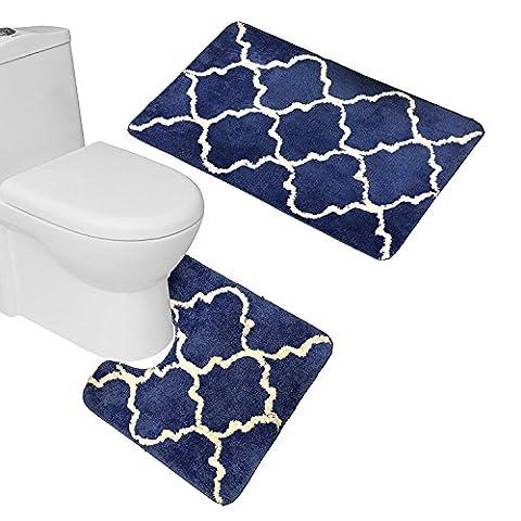 Rideau de douche à motifs géométriques Lot de bain ultra doux en microfibre marocain en treillis Paillasson Tapis de contour avec couvercle, Microfibre, bleu marine, bath & U shape mat