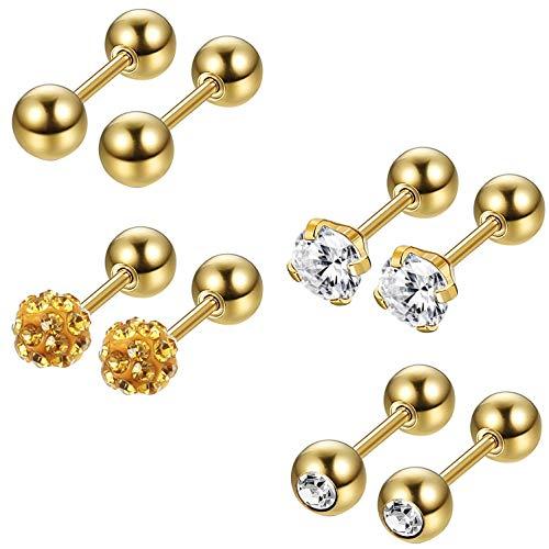 Milacolato 4-6 pair of stainless steel ball earrings for men women CZ Cartilage Helix Ear Piercing