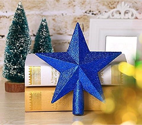 Misslight Weihnachtsbaum Stern Weihnachtsstern Weihnachtsbaumspitze Baumspitze Spitze Stern Baumschmuck Christbaumschmuck (Blau)