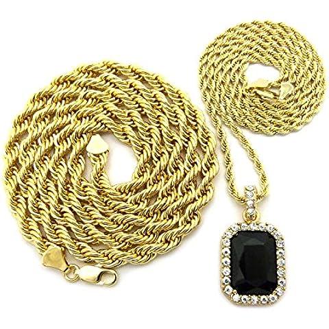 Ciondolo con pietre dure colorate con 3 mm, 61 cm e 76 cm di corda, 6 mm, per collane-Collana in oro bicolore