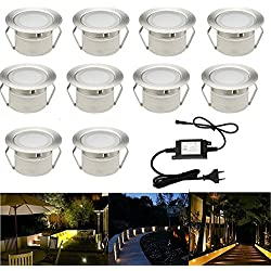 FVTLED 10er Set Led Bodeneinbauleuchten Aussen 1W Ø45mm IP67 Wasserdicht LED Einbaustrahler Terrasse Küche Garten Led Lampe Warmes Weiß