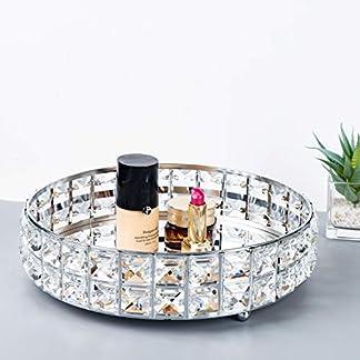Feyarl – Bandeja de Cristal con Espejo para Maquillaje, joyería, joyería, Organizador de Joyas, Bandeja de Perfume y cosméticos, Bandeja Decorativa, Bandeja de Almacenamiento para el hogar