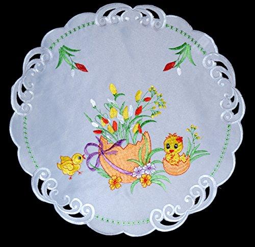 Deco Art - Adorable napperon, nappe, serviette de table, set de table, chemin de table - Rond - 40 cm de diamètre - Blanc - Broderie sur le thème de Pâques