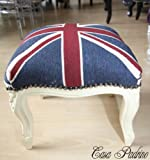 Casa Padrino Barock Fußhocker Union Jack / Creme – Hocker Englische Flagge Antik Stil England - 2