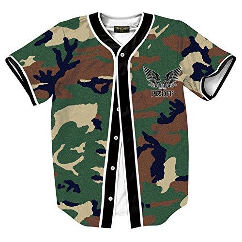 Pizoff Herren Hip Hop 3D Druck Baseball Hemd Urban Classic Baseball Jersey Tarnmuster Camouflage (Basketball-usa-team-jersey)