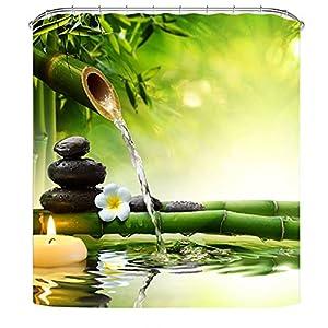 Litthing Cortina de Ducha Anti-Molde Estilo de Planta Verde 180 cm * 180 cm / 12 Anillos de Cortina para el Baño con Vibrante Colores de Impresión Digital en 3D (1)