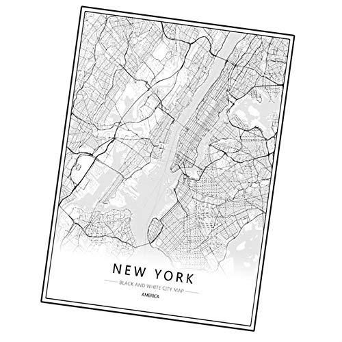 k Paris Leinwand Wandmalerei Weltstadtkarte Plakat Schwarz Weiß abstraktes Öl Bild Unframed Öl Zeichnung ()