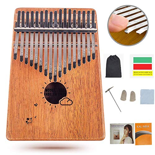 Flybiz 17 Schlüssel Kalimba Daumenklavier, Mahagoni Finger Klavier mit Lernanleitung und Stimmhammer, Mini Thumb Piano Kalimba Instrument, Marimba Musik Geschenk für Anfänger, Kinder, Erwachsene