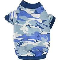 smalllee Lucky almacenar Ropa para pequeñas de Mascota Perro Gato 100% algodón Camuflaje Camuflaje Print Shirt Camiseta Azul S