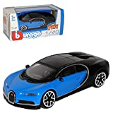 Bburago Bugatti Chiron Coupe Mittel Blau mit Schwarz Ab 2016 1/43 Modell Auto