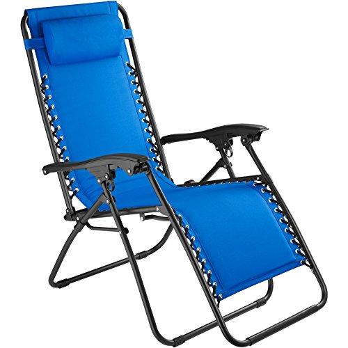 tectake 800583 Chaise Longue Toile Tendue, Pliable, avec Rembourrage de Tête Amovible, Charge Max: 110 kg - diverses Couleurs - (Bleu   n° 402930)