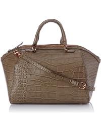 Pieces Sahra Bag Croco, Sac porté main - Beige (Sand/Detail/Rose Gold Metal)