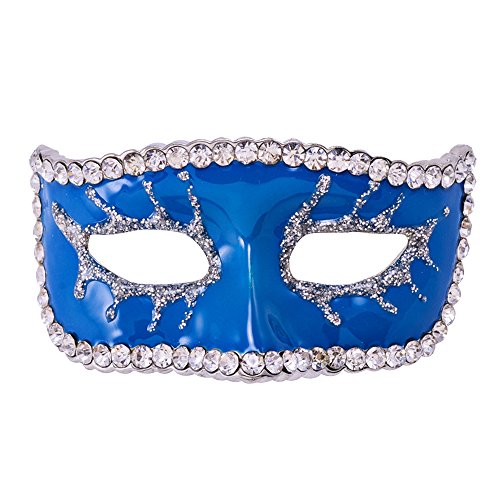 Eizur Unisex Halloween Maschera Spilla Pin Cristallo Strass Lapel Pin per Costume per Halloween Decorazione Partito Favore Regalo--Blu