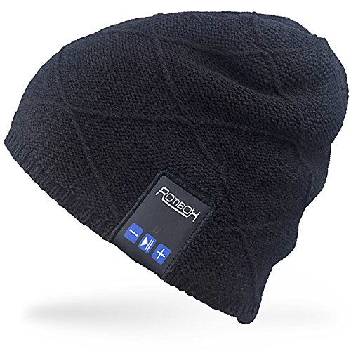 Rotibox unisex trendy caldo bluetooth cappello cappello cappello coprire con cuffia senza fili cuffia auricolari microfono a mani libere, regalo di natale per l'inverno sport all'aria aperta sci snowboard jogging escursionismo - nero