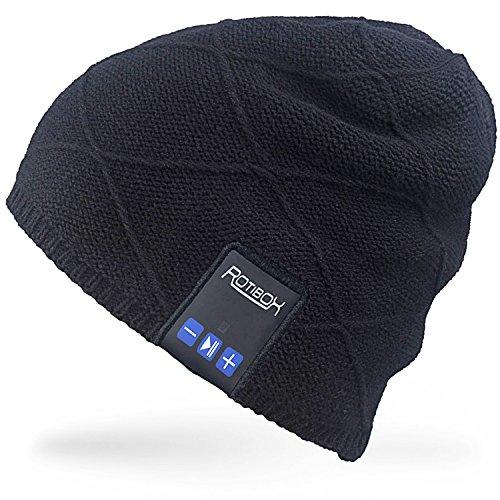 Rotibox Unisex Trendy Warm Bluetooth Beanie Hut Cap Ohr Abdeckungen mit Wireless Kopfhörer Headset Lautsprecher Mic Hands-frei, Winter Outdoor Sport Skifahren Snowboard Jogging Wandern - Schwarz