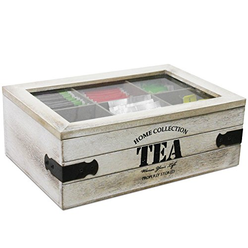 bakaji Tea Canister Box The Tea with 6 Compartments Box Wooden MDF 24 x 16  x 10 cm