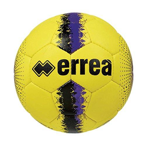 Errea, pallone allenamento e partita, modello mercurio 2.0, colore giallo-nero-viola, numero 5