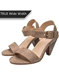 bc50f56c8116 Luoika Women s Wide Width Cone Heeled Sandal - Open Toe Ankle Strap  Adjustable Metal Buckle Low Heel…