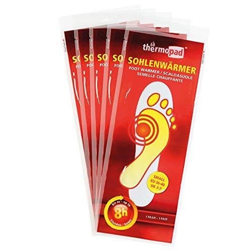 Thermopad 5er Pack Sohlen-Wärmer | kuschlig warme Füße | sofort einsatzbereit | 8 Stunden lang 37°C | einfache Anwendung wohltuender Wärme-Kissen | Größe S