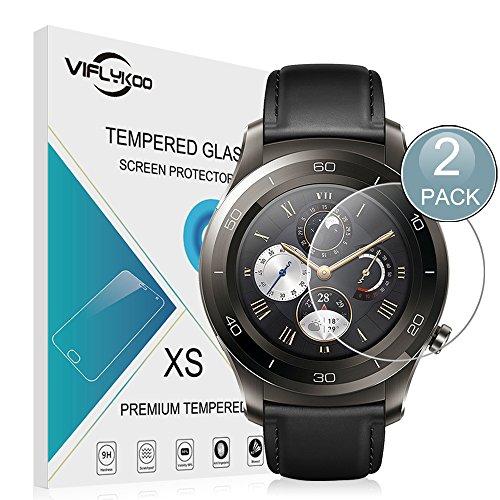 Huawei Watch 2 Protector de Pantalla,[2-Pack]VIFLYKOO Huawei Watch 2 Cristal Vidrio Templado Protector 9H Tempered Glass Screen Protector para Huawei Watch 2 Smartwatch