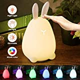 Children Night Light,Elfeland LED Night Light for Kid Bedside Lamp Mood Atmosphere Light Cute Rabbit Fairy Light USB Rechargeable Sensitive Tap Control Baby Night Light Ideal for Bedroom Birthday Gift