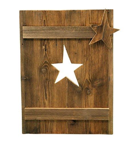 fensterladen alt Metallmichl Edelrost Deko Fensterladen aus Altholz Fichte, Sternauschnitt mit Stern rechts Höhe 70 cm, handgemacht Holzdekoration zum hängen oder Stellen