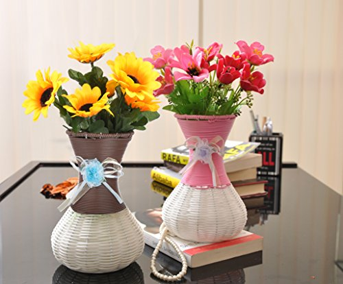 Tiedribbons Artificial Flowers With Vase For Living Room (7.5 Inch X 5 Inch, Multi,Metal)