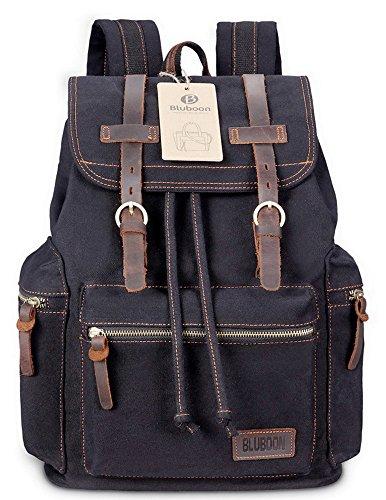 Imagen de bluboon vintage  de lona para hombre/mujer casual backpack canvas rucksack negro