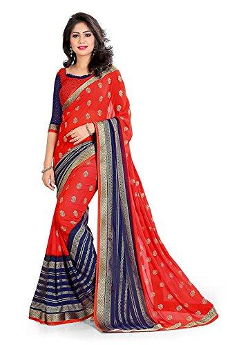 MAHALAXMI FAB_georgette sarees red,georgette sarees red,saree georgette for women,Women's Georgette Multi-Colour Saree