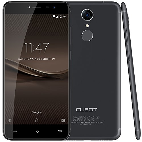 Cubot Note Plus (2017) Android 7.0 4G-LTE Dual Sim Smartphone ohne Vertrag, 5.2 Zoll IPS HD Touch-Display, 3GB Ram+32GB interner Speicher, Sony 16MP Hauptkamera / Samsung 16MP Frontkamera, Fingerprint Sensor Funktion, 2.5D gebogener Bildschirm, nutzbares GPS, Benachrichtigungs-LED, Schwarz