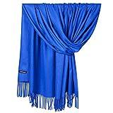 NPRADLA 2018 Kaschmirschal Damen Herren Elegante Akne Einfarbig Pashmina Schurwolle Unisex(One Size,Blau)
