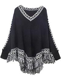 Zicac Poncho pour femme Coton Col V vintage bohème Glands, franges Pashmina en tricot chauve-souris