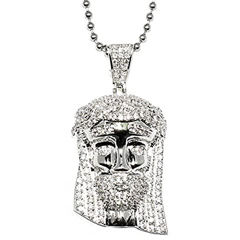 Mega Bijoux Plaqué argent Mini Jésus Piece Iced Out avec collier de chaîne boule 76,2cm–Meilleure Qualité