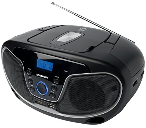 MEDION LIFE E66224 MD 84101 MP3 Stereo Sound System, USB, SD-Kartenleser, CD-Player, AUX-Anschluss, UKW Radio, 2x20 Watt, schwarz