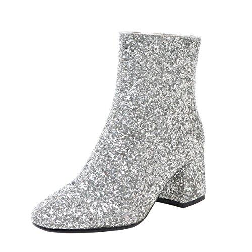 YE Damen Blockabsatz Ankle Boots Glitzer Stiefeletten High Heels mit Reißverschluss und Pailletten...