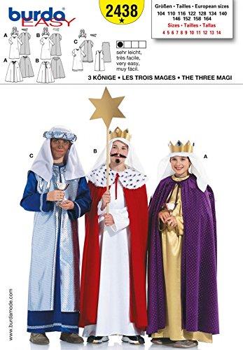 Burda Kinder Schnittmuster 2438–3heiligen Könige Kostüm Muster Größen: (Burda Muster Kostüm)