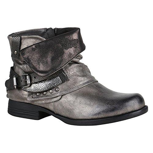Damen Schuhe Stiefeletten Biker Boots Nieten Schnallen Leder-Optik 144363 Grau Metallic 38 Flandell