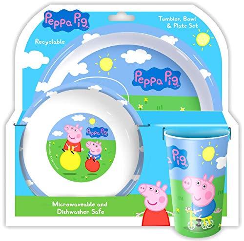 Holland Plastics Original Brand OFFIZIELLE Peppa Pig 3-teiliges Set ESS- !! Komplett mit Teller, Schüssel & Trockner/Becher.