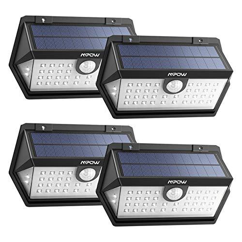 Mpow 【2018 40LED Lámpara Solar Exterior, 3 Modos de Iluminación de 270° con Sensor de Movimiento, Foco Solar IP65 para Jardin, Panel Solar Mejorado para Jardín y Camino(4 Piezas)