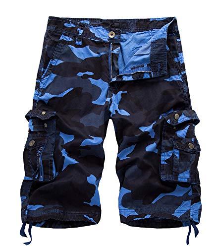 Yidarton Bermuda Shorts Herren Sommer Kurze Hose Outdoor Casual Strandshorts Chino Cargo Shorts mit 6 Tasche Reine Farbe/Tarnung (ohne Gürtel) (Style2-Sky Blue Camouflage, L)