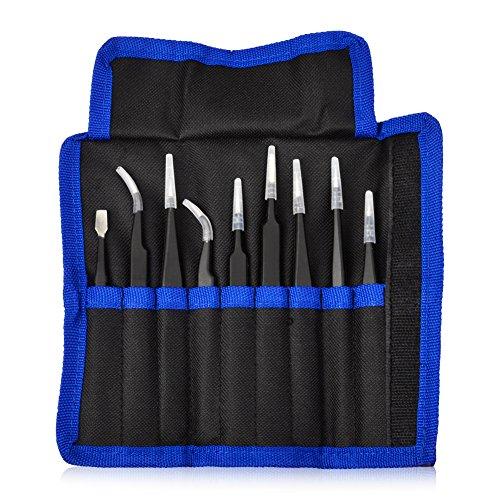 ISOTO 9st Pinzette Precision ESD Antistatische Edelstahl Pinzette Kit mit Tasche für Elektronik,...