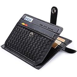 flintronic® Porte Cartes de Crédit, Noir Bifold Portefeuille Cuir Véritable, RFID NFC Blocage avec Poche à Monnaie avec Bouton Couvert pour Hommes