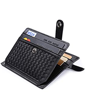 flintronic Tarjeta de Crédito Slim, RFID Bloqueo Monedero de Cuero, Mini Billetera para Tarjetas de Crédito