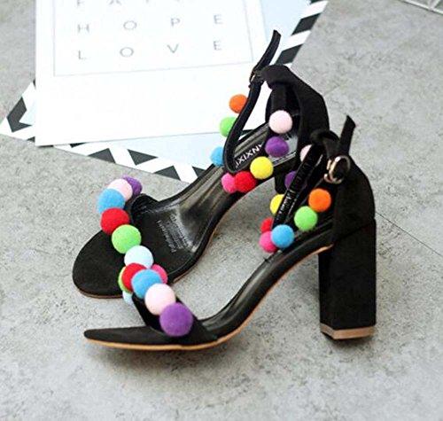 Femme Pompe 8cm Chunkly Bout Ouvert Talon Cheville Sangle Dorsay Haut Talon Sandales Couleur Chaussures De Danse Robe Chaussures Eu Taille 35-40 Noir