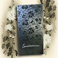Arazzo nero pizzo foglia argento matrimonio vintage floreale goffrato DIY inviti (buste e inserti a stampa Inc) x 10pezzi