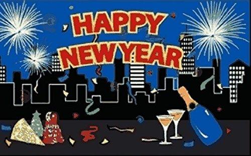 U24 Drapeau Happy New Year City Nouvel An Sylvestre 90 x 150 cm