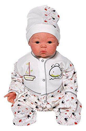 MIS. Baby Jungen Bekleidungsset Bobina 2-tlg Strampler mit Mütze + integrierte Fäustlinge langarm 1945lac3