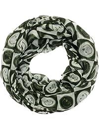 Kandharis Schal Loopschal in trendy Smiley Allover-Print für Damen Viskose HW16M3