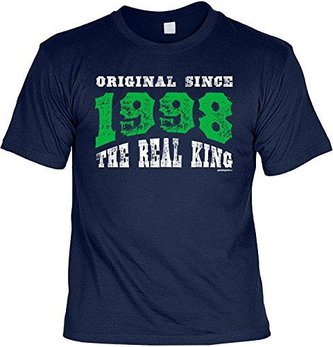 T-Shirt zum Geburtstag - Original since 1998 - The real King - Geburtstagsgeschenk - Fun shirt - Geschenkidee - navyblau Navyblau